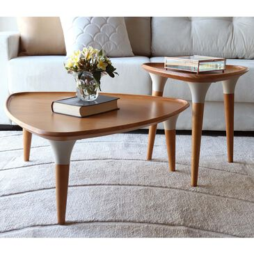 Dayton HomeDock 2-Piece Coffee & End Table in Cinnamon/Off White, , large