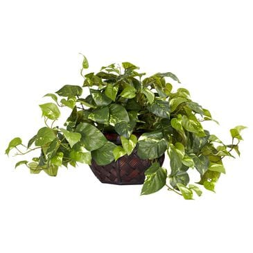 Nearly Natural Inc Pothos with Decorative Vase Silk Plant, , large