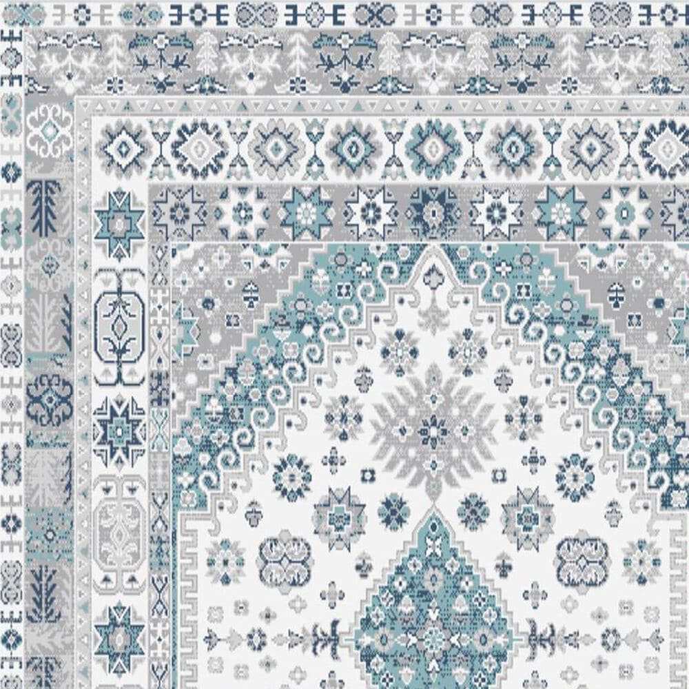 """Central Oriental Sientan Veati 2521.259 6'7"""" x 9'2"""" Cream and Light Blue Area Rug, , large"""