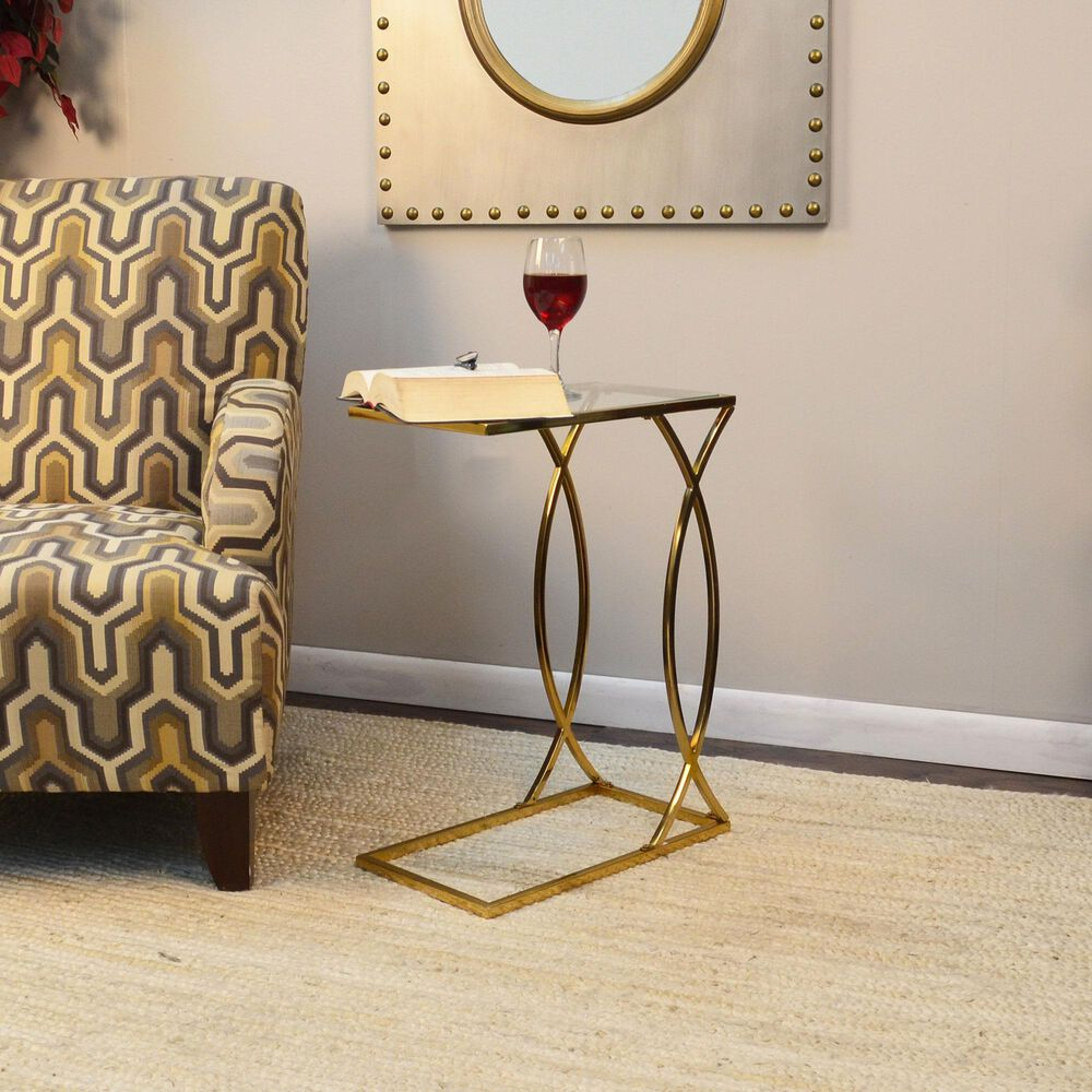 Carolina Chair and Table Cressida Accent Table in Gold, , large
