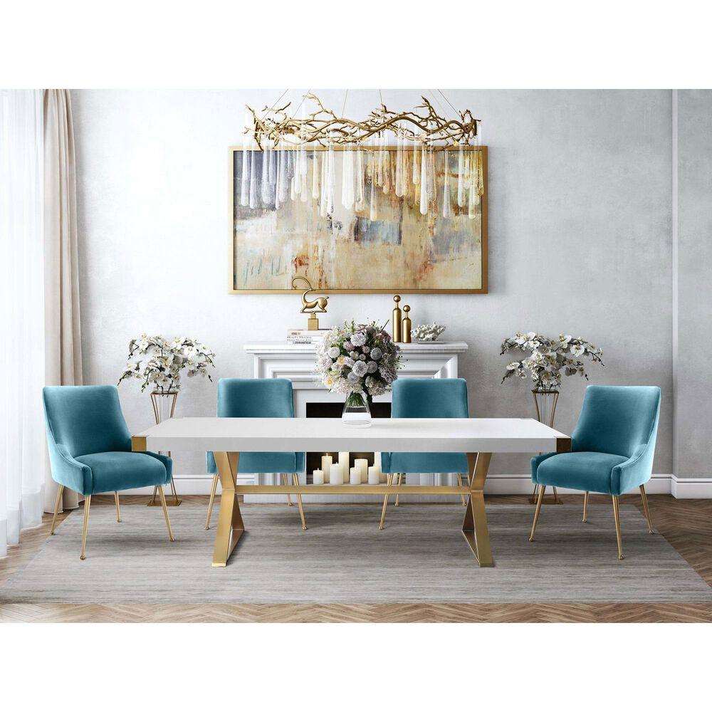 Tov Furniture Beatrix Sea Blue Velvet Side Chair, , large