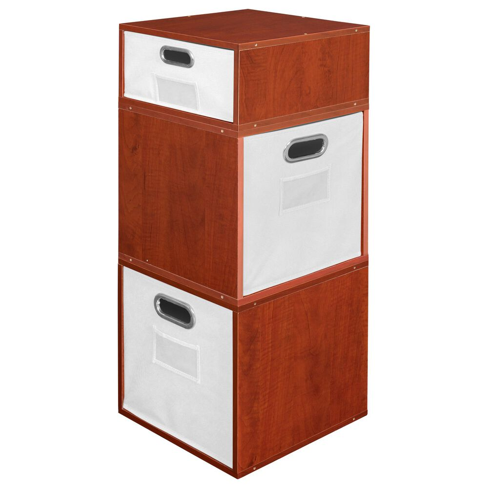 Regency Global Sourcing Niche Cubo 3-Piece Storage Set with Half Drawer in Cherry/White, , large