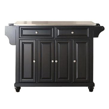 Crosley Furniture Cambridge Stainless Steel Top Kitchen Island in Black, , large