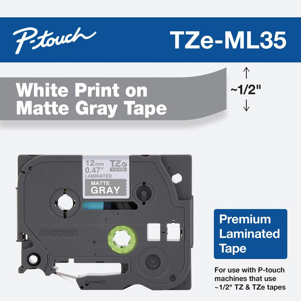 Brother 12mm Tape in White on Matte Gray for P-Touch, , large