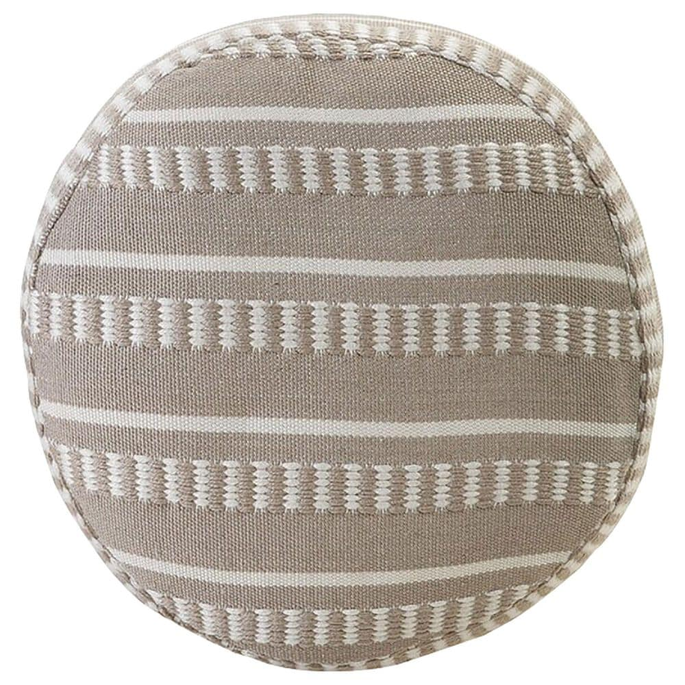 L.R. RESOURCES Dash Geometric Outdoor Pouf in Taupe and White, , large