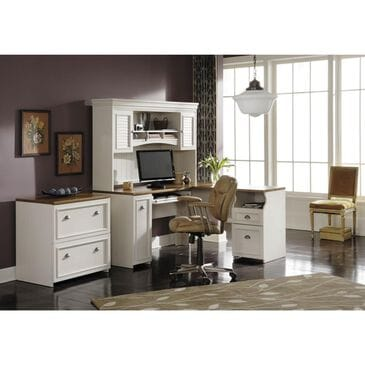 Bush Fairview L-Shaped Computer Desk in Antique White and Tea Maple, , large