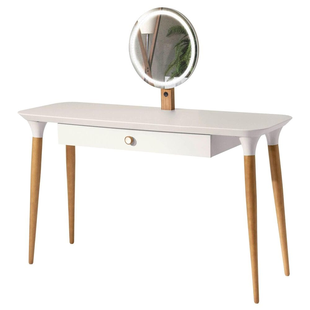 Dayton HomeDock Vanity Table with Mirror in Off White/Cinnamon, , large