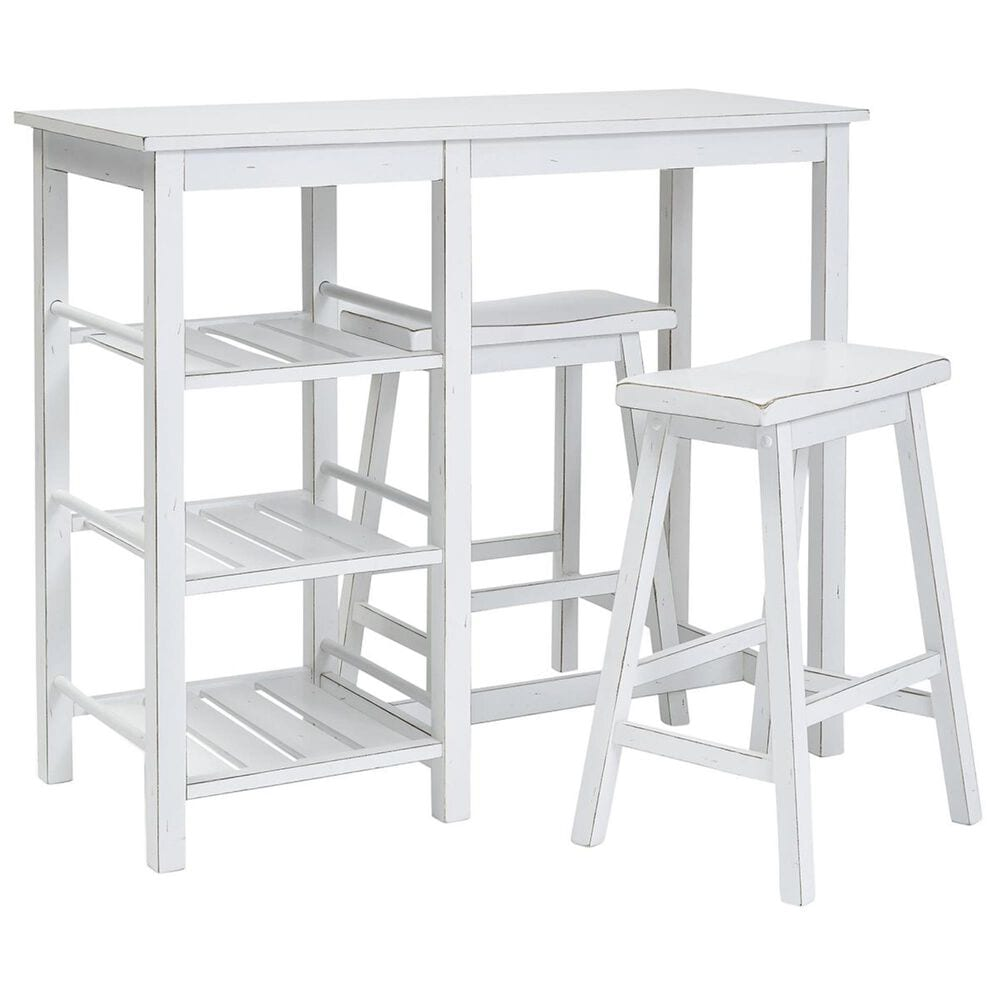 Tiddal Home Breakfast Club 3-Piece Counter Dining Set in Distressed Chalk White, , large