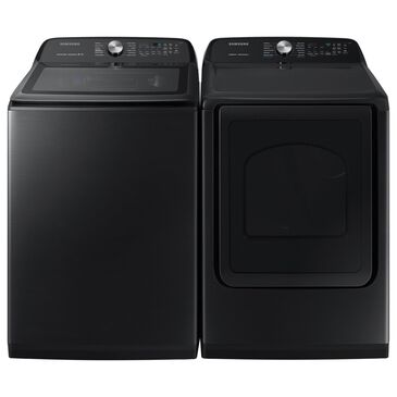Samsung 5.0 Cu. Ft. Top Load Washer and 7.4 Cu. Ft. Electric Dryer in Black Stainless Steel, , large