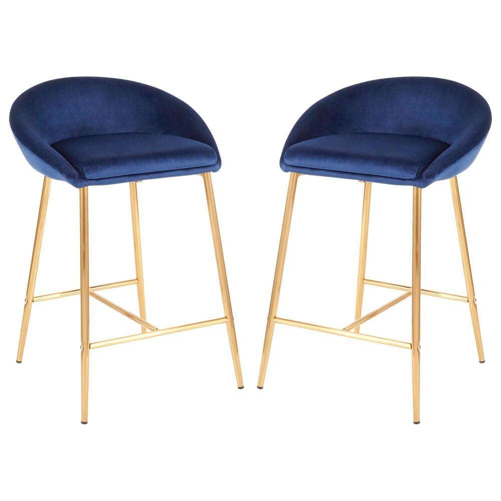 """Lumisource Matisse 26"""" Counter Stool in Blue/Gold (Set of 2), , large"""
