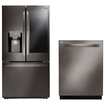 LG 2-Piece Kitchen Package 26 Cu. Ft. French Door Refrigerator and Top Control Dishwasher - Black Stainless Steel , , large