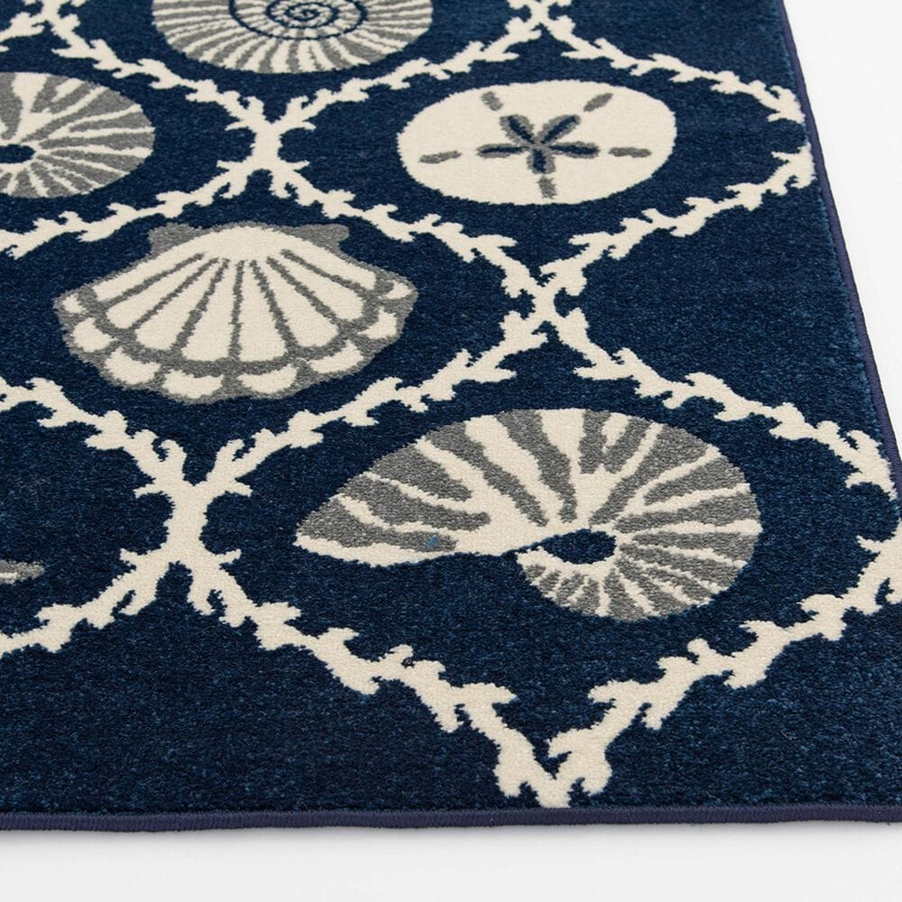 "Central Oriental Terrace Tropic Coastal Coral Lattice 2342PN.085 5' x 7'3"" Sapphire and Snow Area Rug, , large"