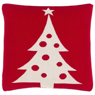 """Surya Inc Very Merry Tree 18"""" Toss Pillow in Bright Red and Ivory, , large"""