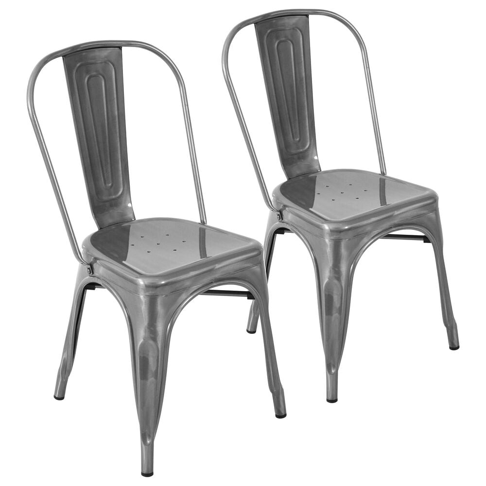 Lumisource Oregon Stackable Dining Chair in Brushed Silver/Brushed Silver (Set of 2), , large