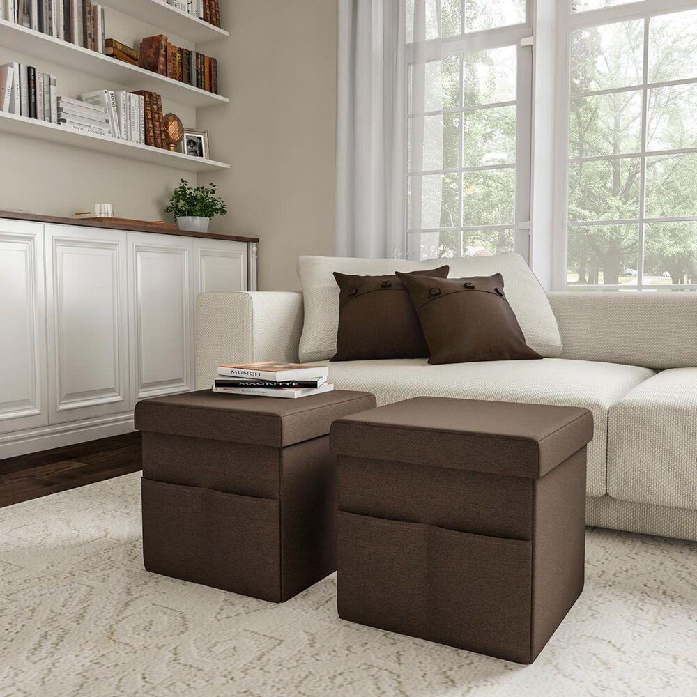 Timberlake Lavish Home 2-Piece Foldable Storage Ottoman in Linen Brown, , large