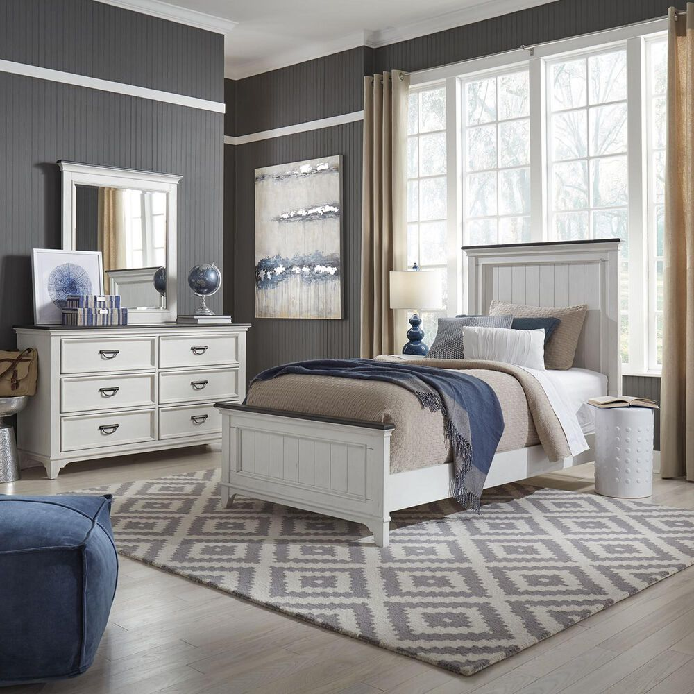 Belle Furnishings Allyson Park 4 Piece Full Bedroom Set in Wire Brushed White and Charcoal, , large
