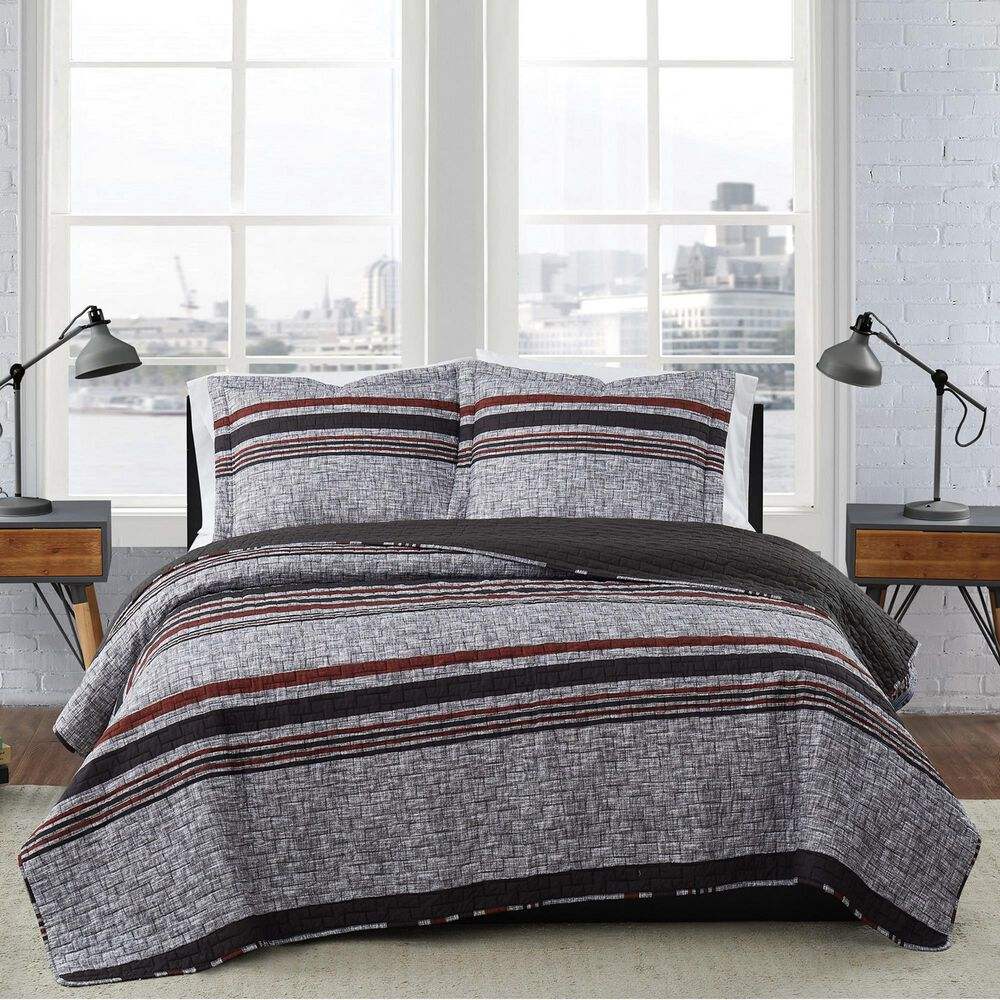 Pem America London Fog Warren 2-Piece Twin XL Quilt Set in Grey and Black, , large