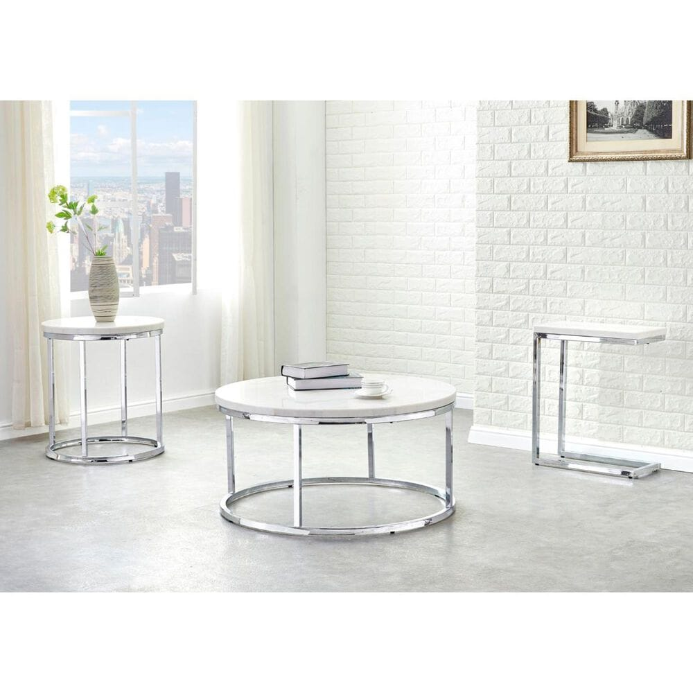 Crystal City Echo Chairside C Table in White Marble and Chrome , , large
