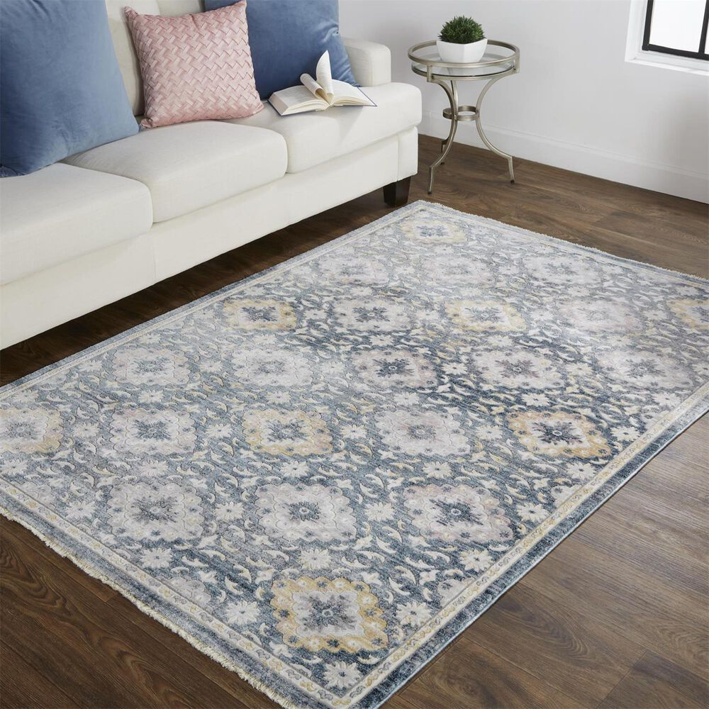 Feizy Rugs Kyra 5' x 7' Gray and Yellow Area Rug, , large