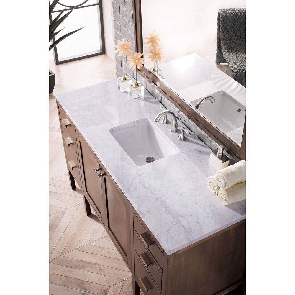 James Martin Addison 60 Single Bathroom Vanity In Mid Century Acacia With 3 Cm Carrara White Marble Top Nebraska Furniture Mart