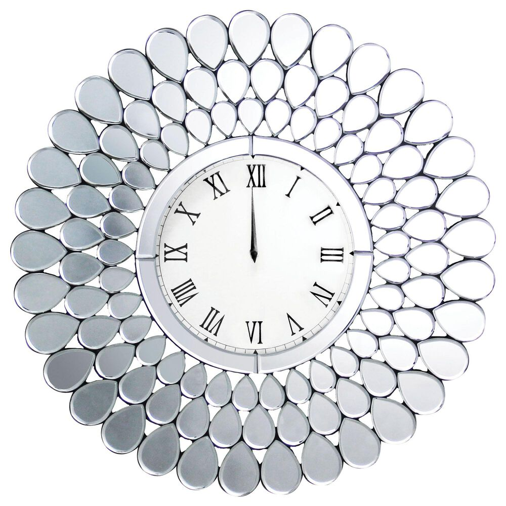 Furniture of America Wells Wall Clock in Silver, , large