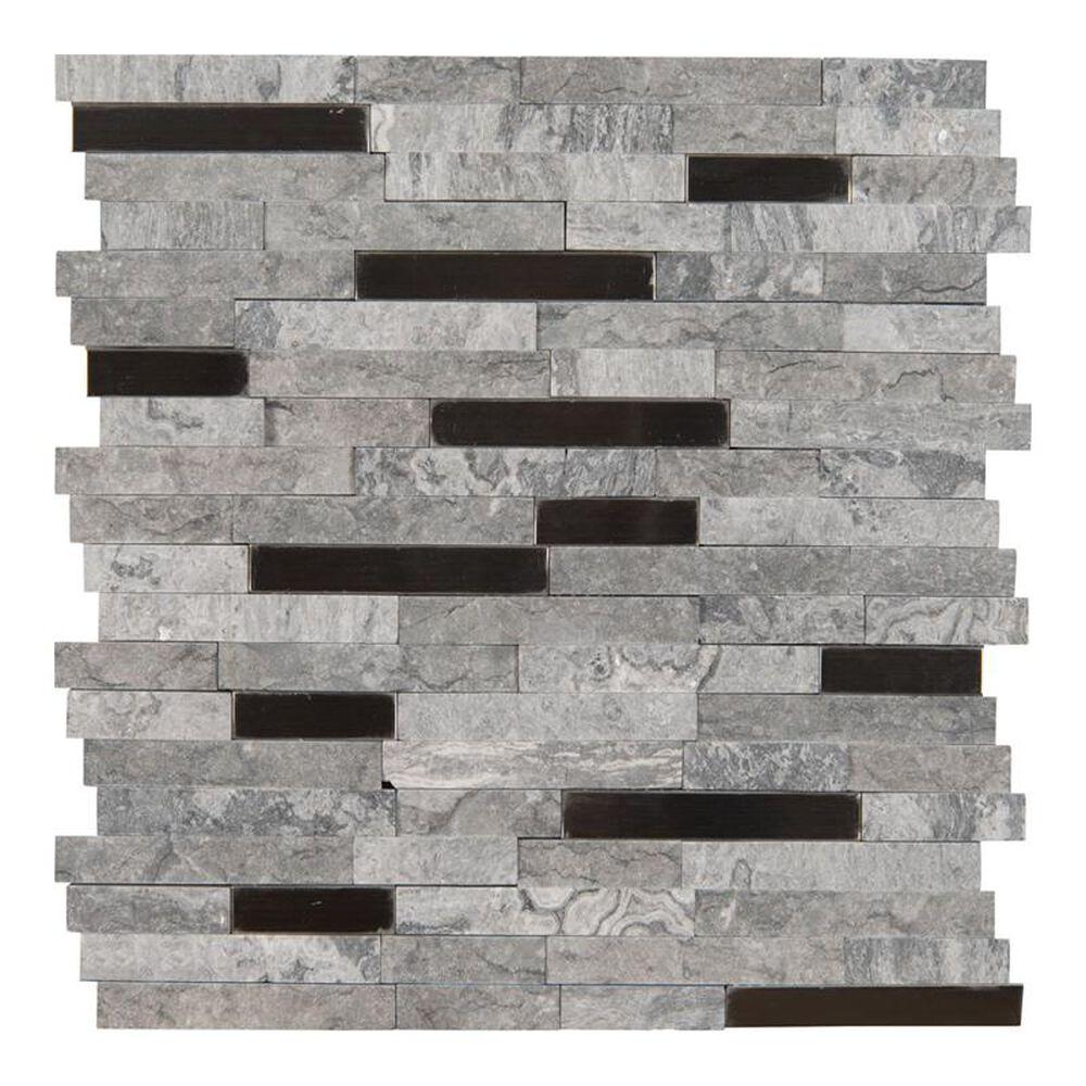 "MS International Eclipse 12"" x 12"" Glass and Stone Metal Mosaic Sheet, , large"