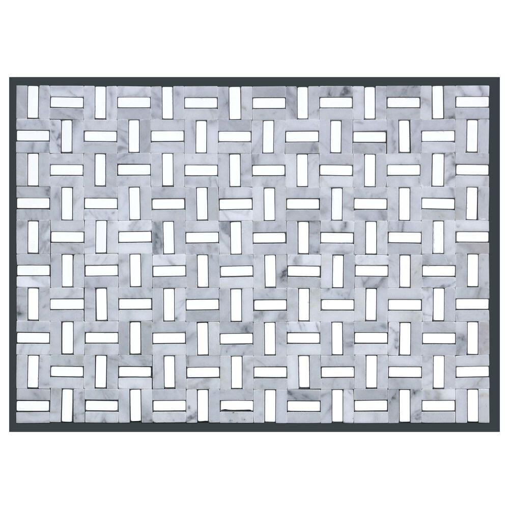 "Emser Link White and Silver 12"" x 17"" Marble Mosaic Sheet, , large"