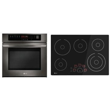 LG 2-Piece Wall Oven and Cooktop Package in Black Stainless Steel, , large