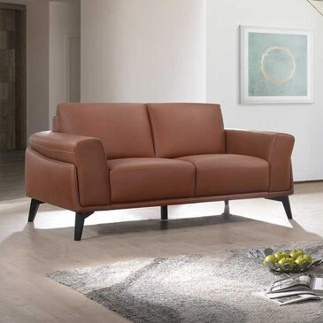 New Heritage Design Como Leather Loveseat in Terracotta, , large