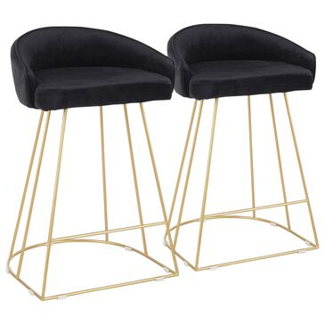 Lumisource Canary Counter Stool in Black/Gold (Set of 2), , large