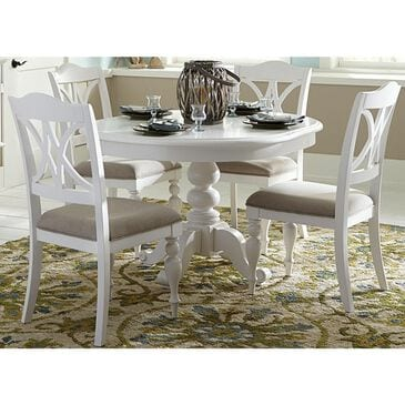 Belle Furnishings Summer House 5-Piece Pedestal Table Set in Oyster White, , large