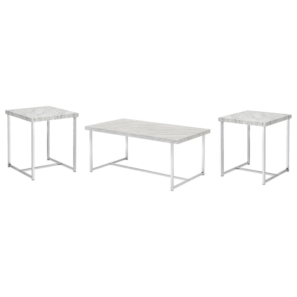 Furniture of America Merritt 3-Piece Coffee Table Set in Chrome and White Faux Marble , , large