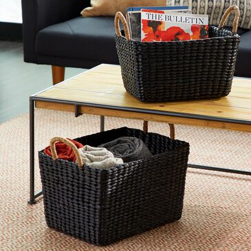 Maple and Jade Wicker Baskets in Black (Set of 2), , large