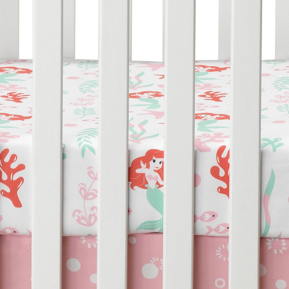 Lambs and Ivy Ariel's Grotto Crib Sheet in Pink and White, , large
