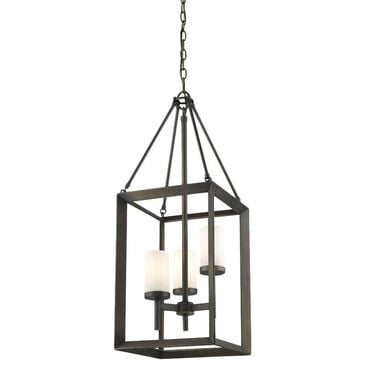Golden Lighting Smyth 3-Light Pendant in Gunmetal Bronze with Opal Glass, , large