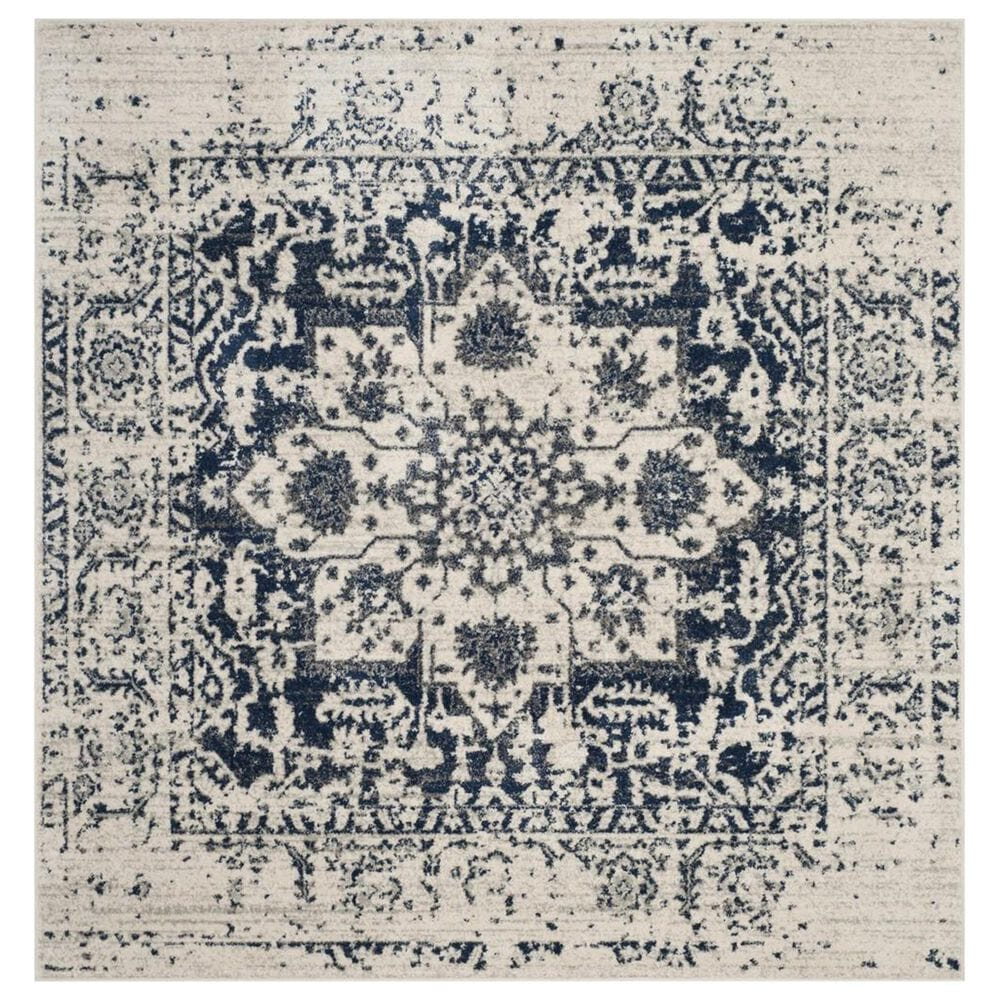 Safavieh Madison MAD603D 11' Square Cream and Navy Area Rug, , large