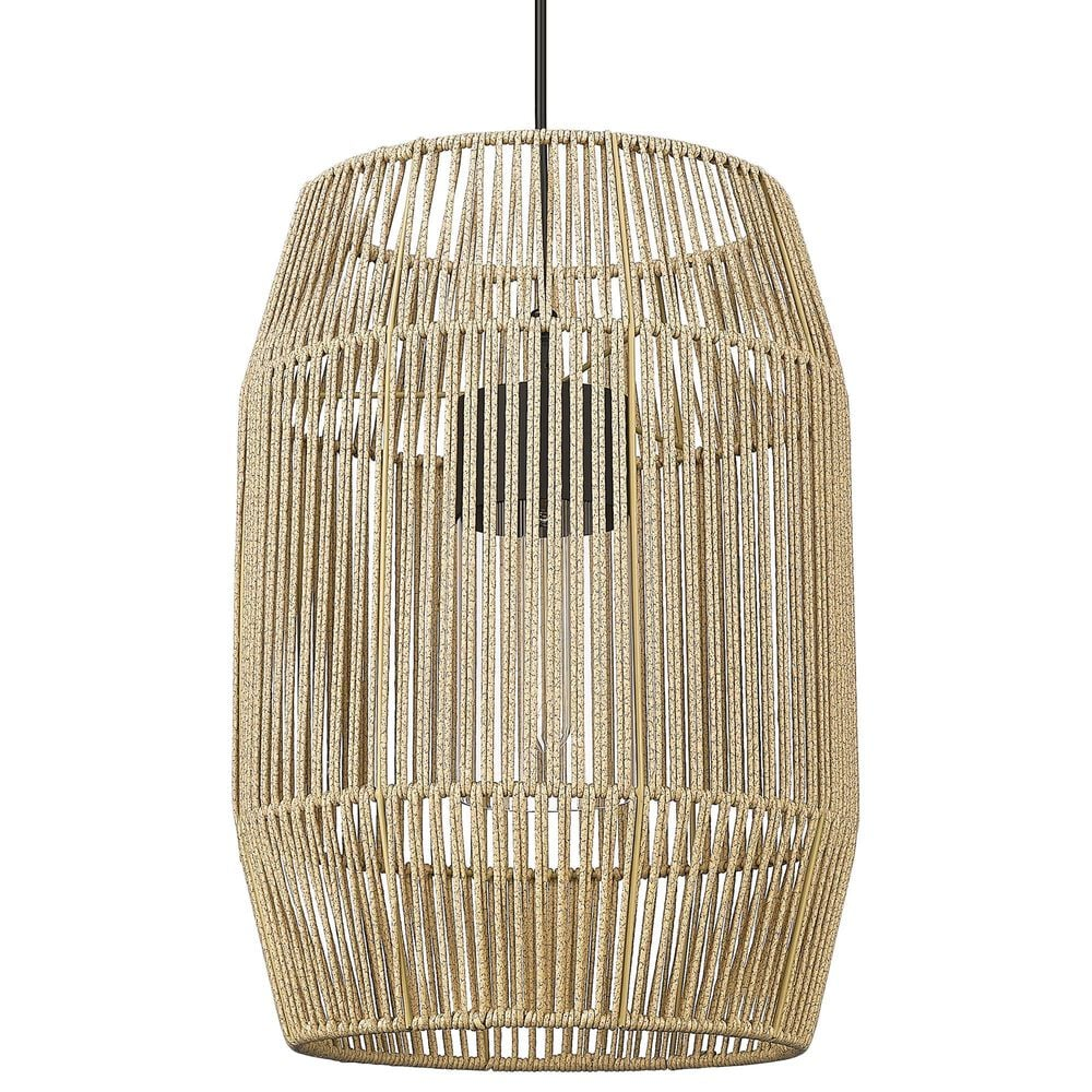 Golden Lighting Seabrooke 1-Light Outdoor Pendant in Natural Black, , large