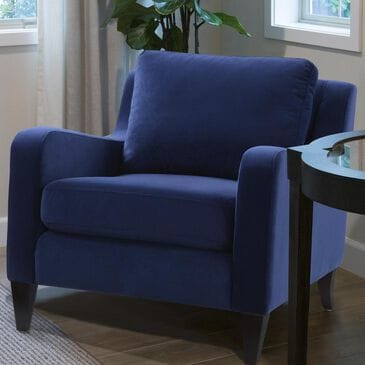 Jennifer Taylor Home Serena Lawson Accent Arm Chair Expresso Legs in Navy Blue, , large
