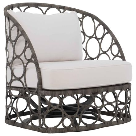 Bernhardt Bali Swivel Chair with White Cushion in Wicker Brown