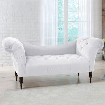 Skyline Furniture Upholstered Settee in Velvet White, , large