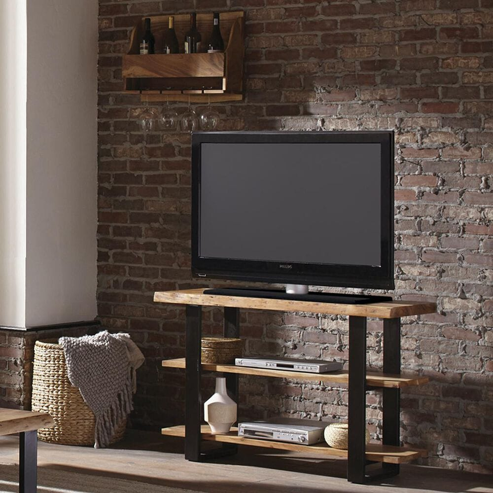Bolton Furniture Alpine Wall Mounted Wine Rack with Metal in Natural, , large