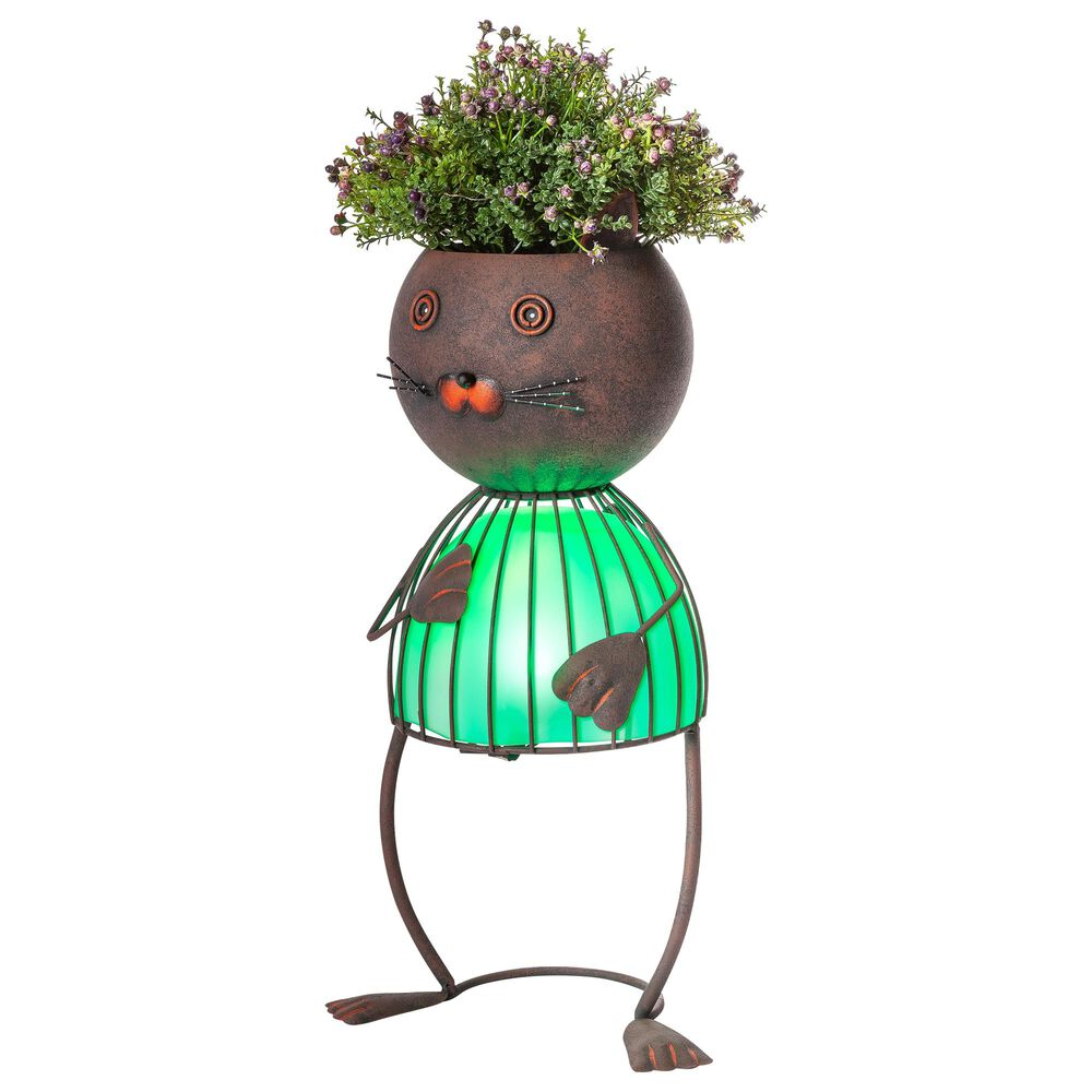 """The Gerson Company 20.87"""" Solar Lighted Garden Cat Pot Head in Rustic Brown, , large"""