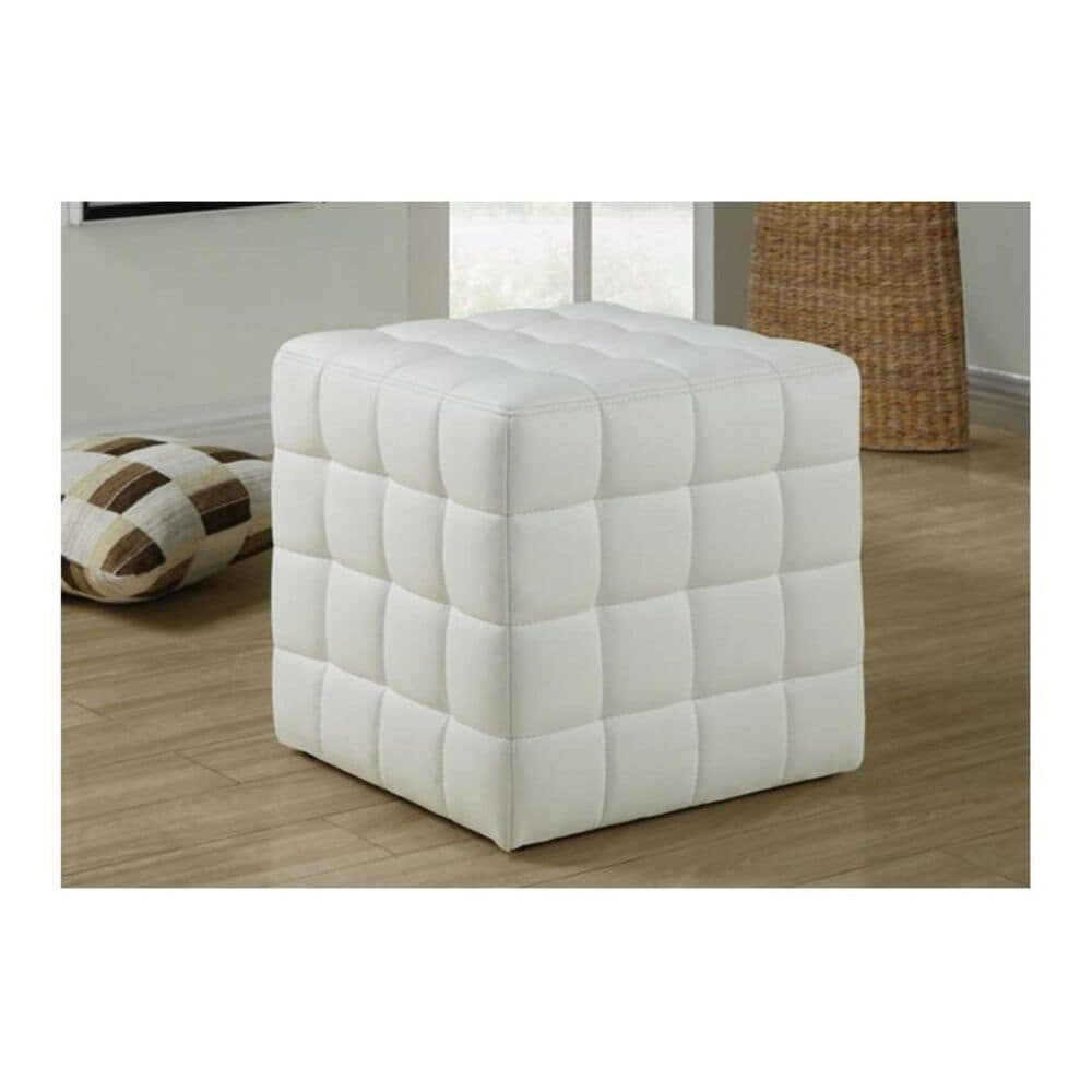 Monarch Specialties Leather-Look Ottoman in White, , large
