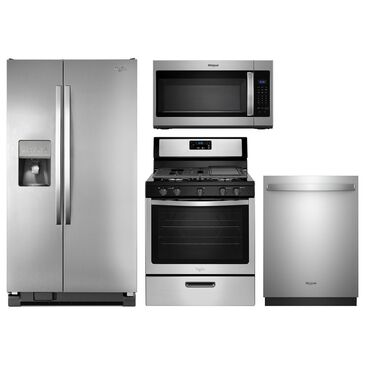 Whirlpool 4-Piece Kitchen Package with Freestanding Gas Range - Stainless Steel, , large