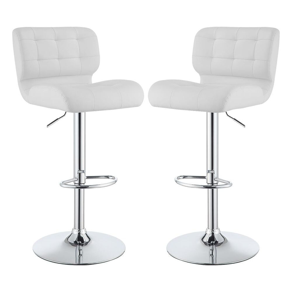 Pacific Landing Upholstered Adjustable Bar Stool in White - Set of 2, , large
