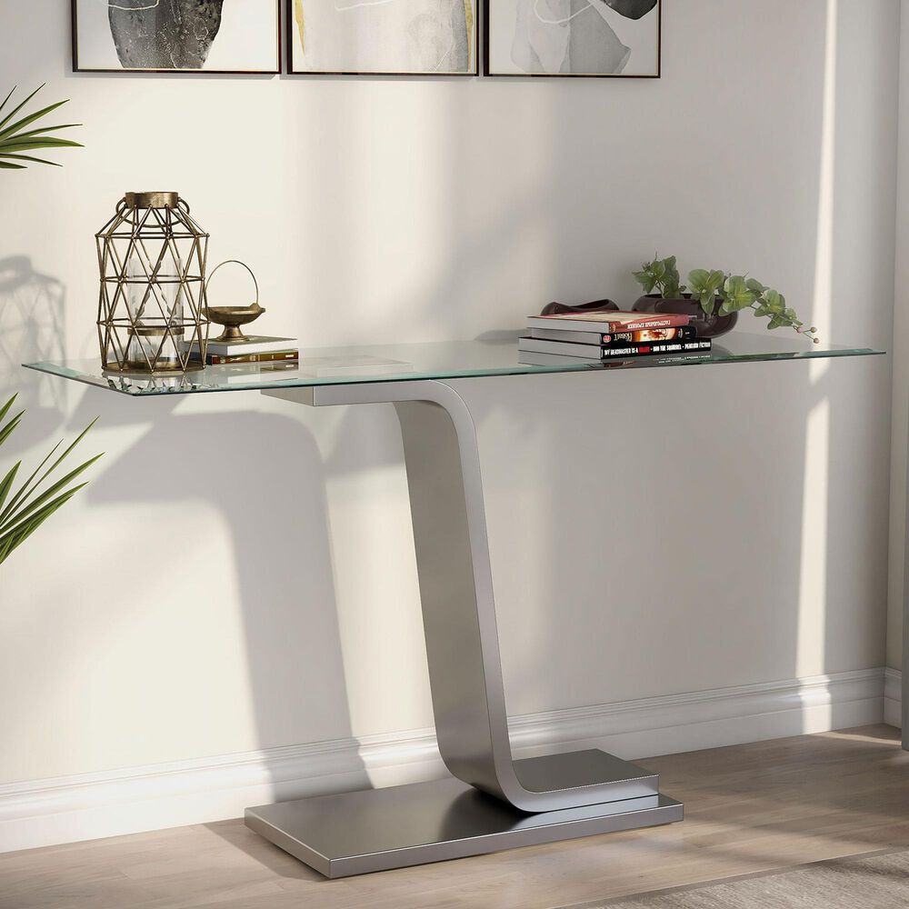 Furniture of America Lynn Console Table in Satin Plated and Clear, , large