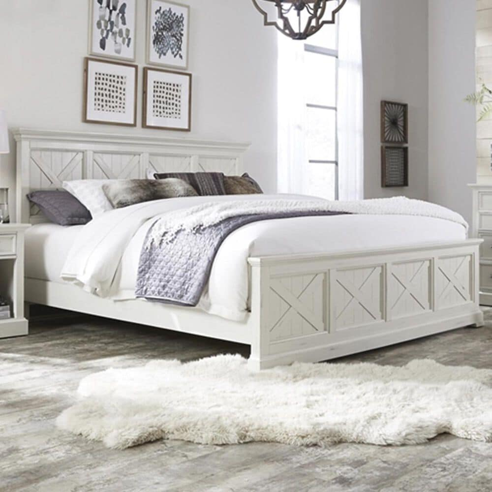 Home Styles Seaside Lodge Queen Bed in Hand rubbed white, , large