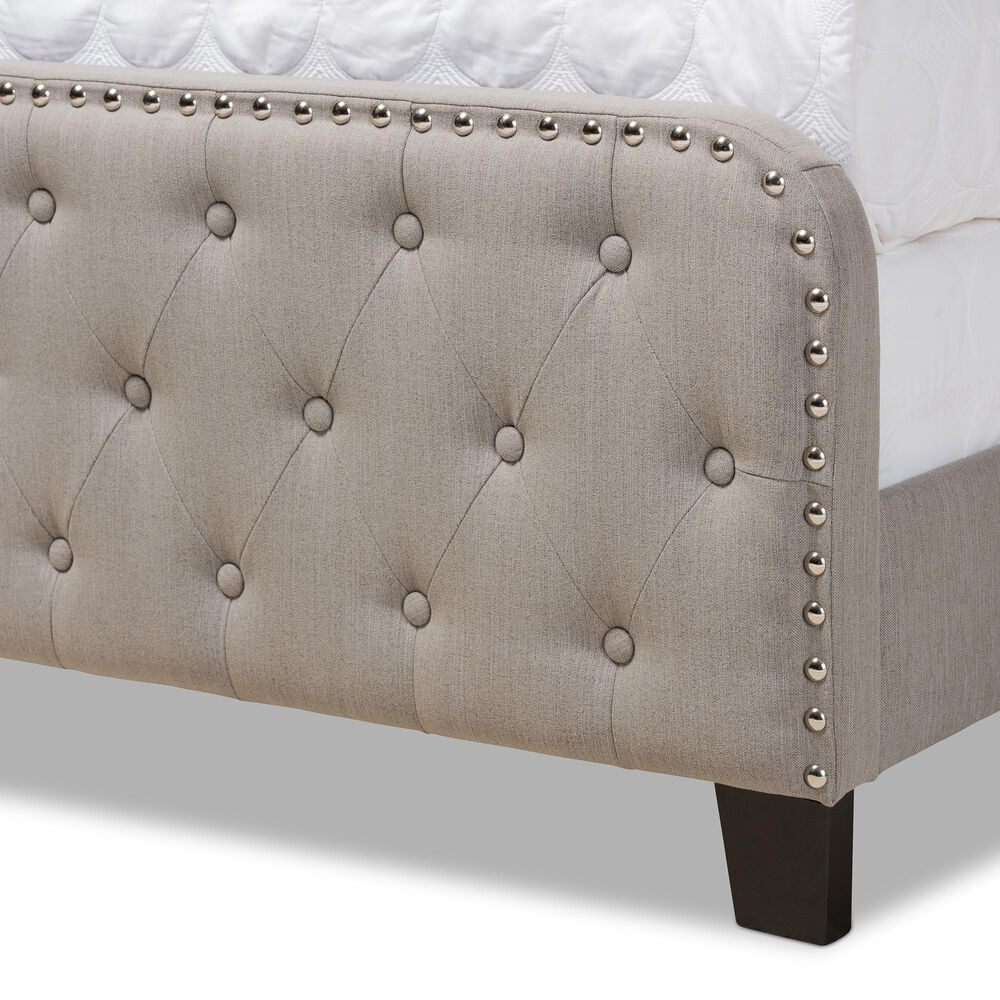 Baxton Studio Annalisa Full Panel Bed in Grey/Black, , large