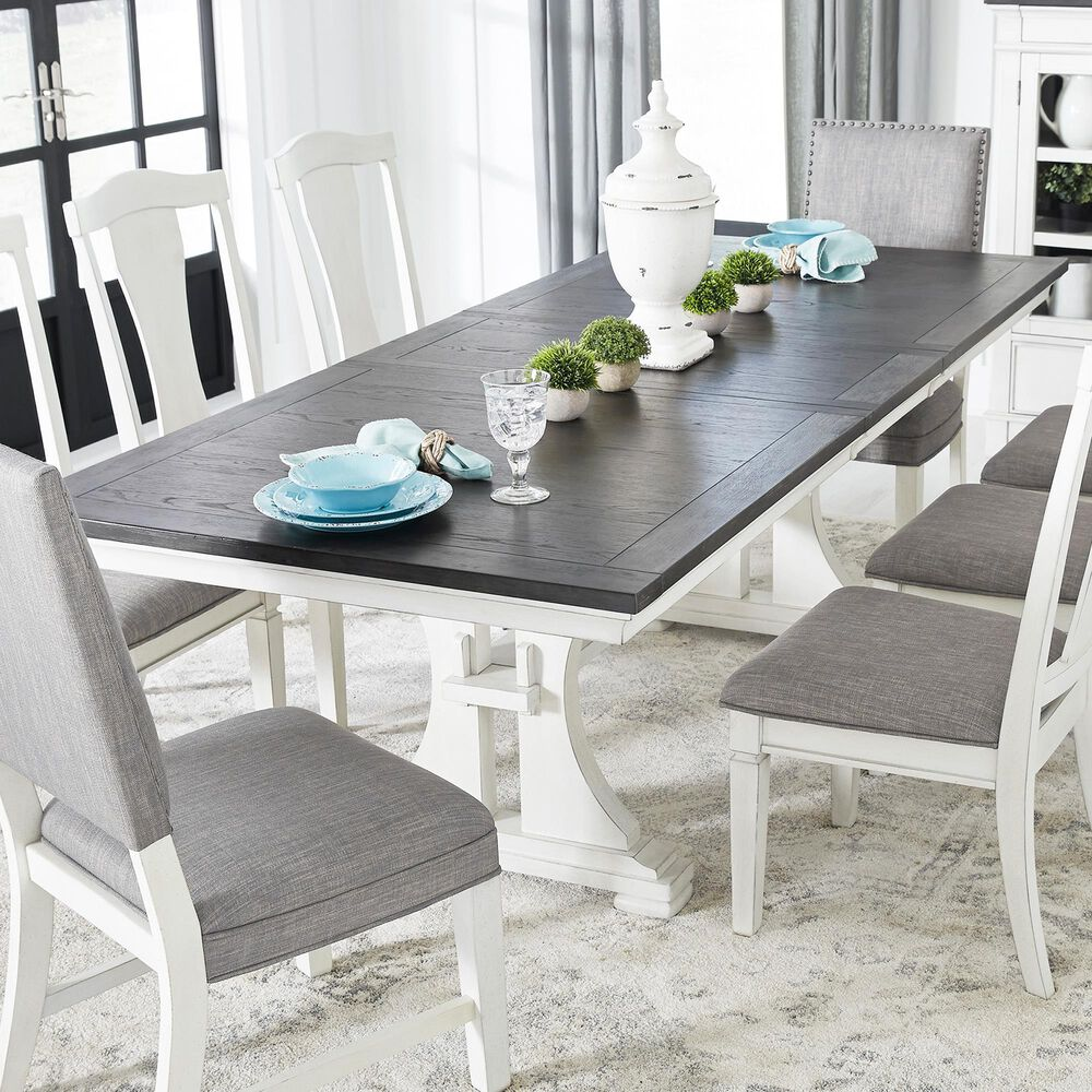 Signature Design by Ashley Nashbryn Extension Dining Table in Whitewash and Dark Brown, , large