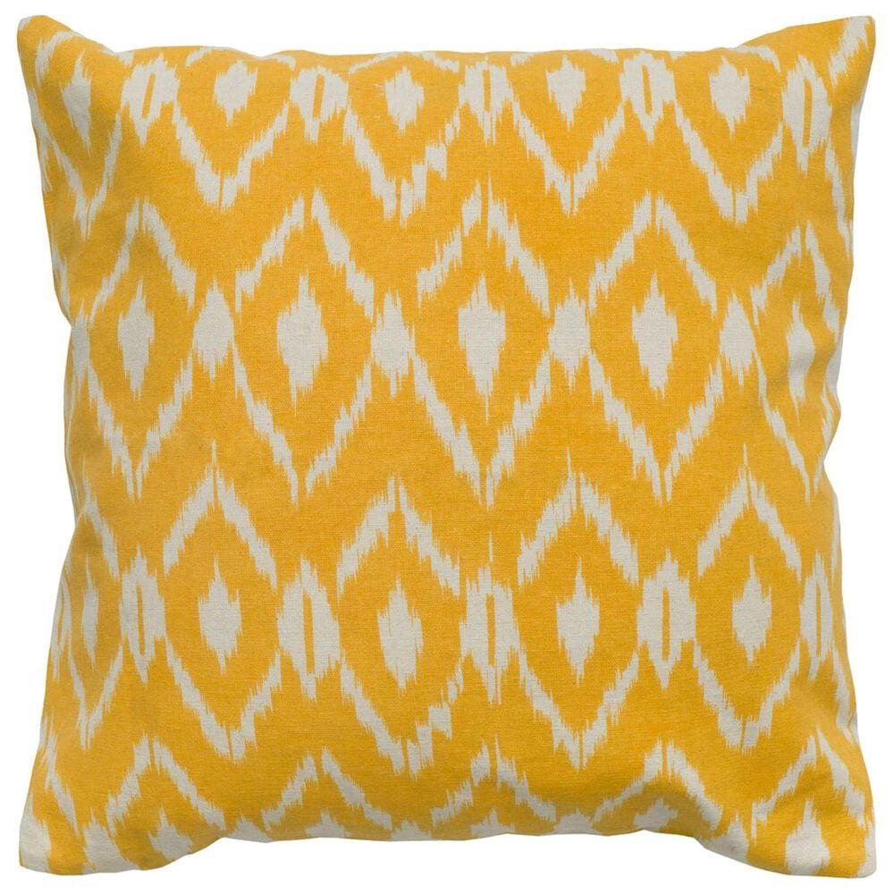 """Rizzy Home 18"""" x 18"""" Down Pillow in Dark Yellow, , large"""